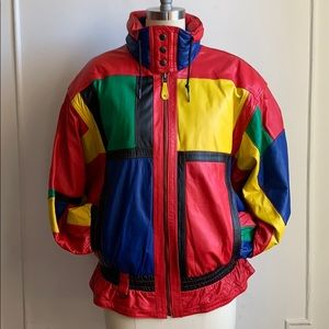 NWT Vintage Color Blocked Leather Puffer Jacket